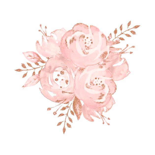 TeePublic: Rosegold Glitter Pink Rose Bouquet
