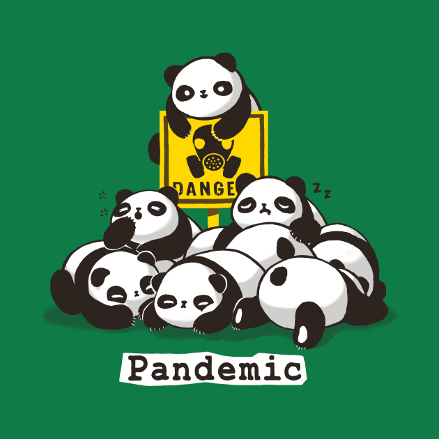TeePublic: Pandemic Pun - Cute Panda Gang - Biohazard Danger Sign