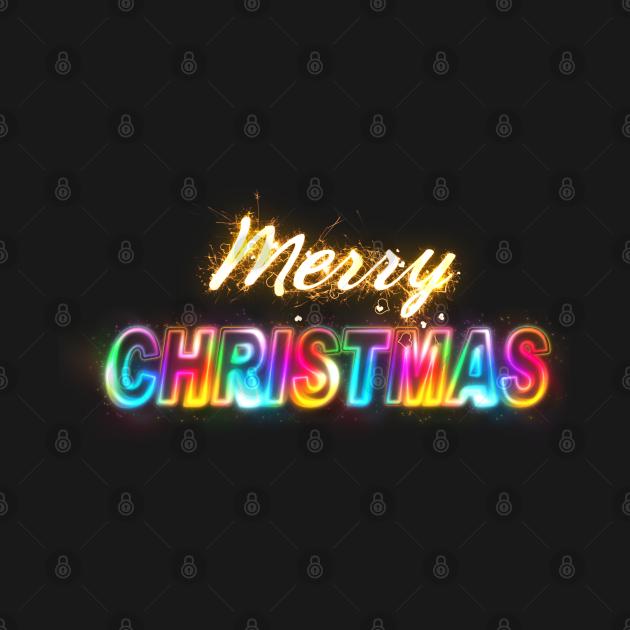 TeePublic: Merry Christmas Raindow Neo Sparkles