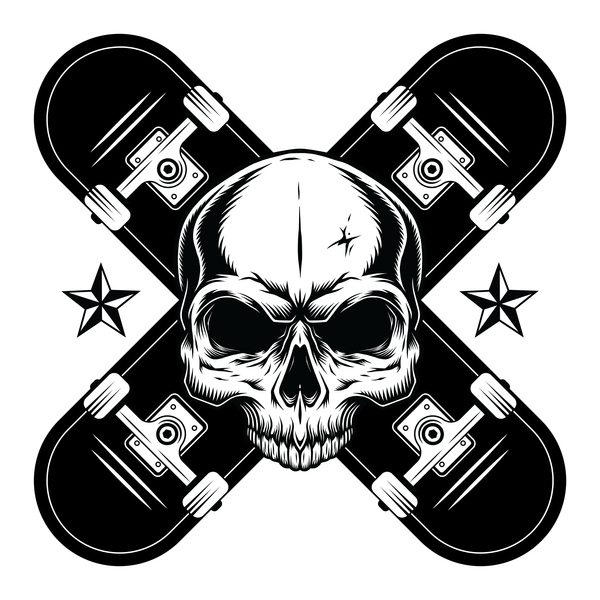 NeatoShop: Skateboard Pirate Skull - Black and White - Tattoo Style