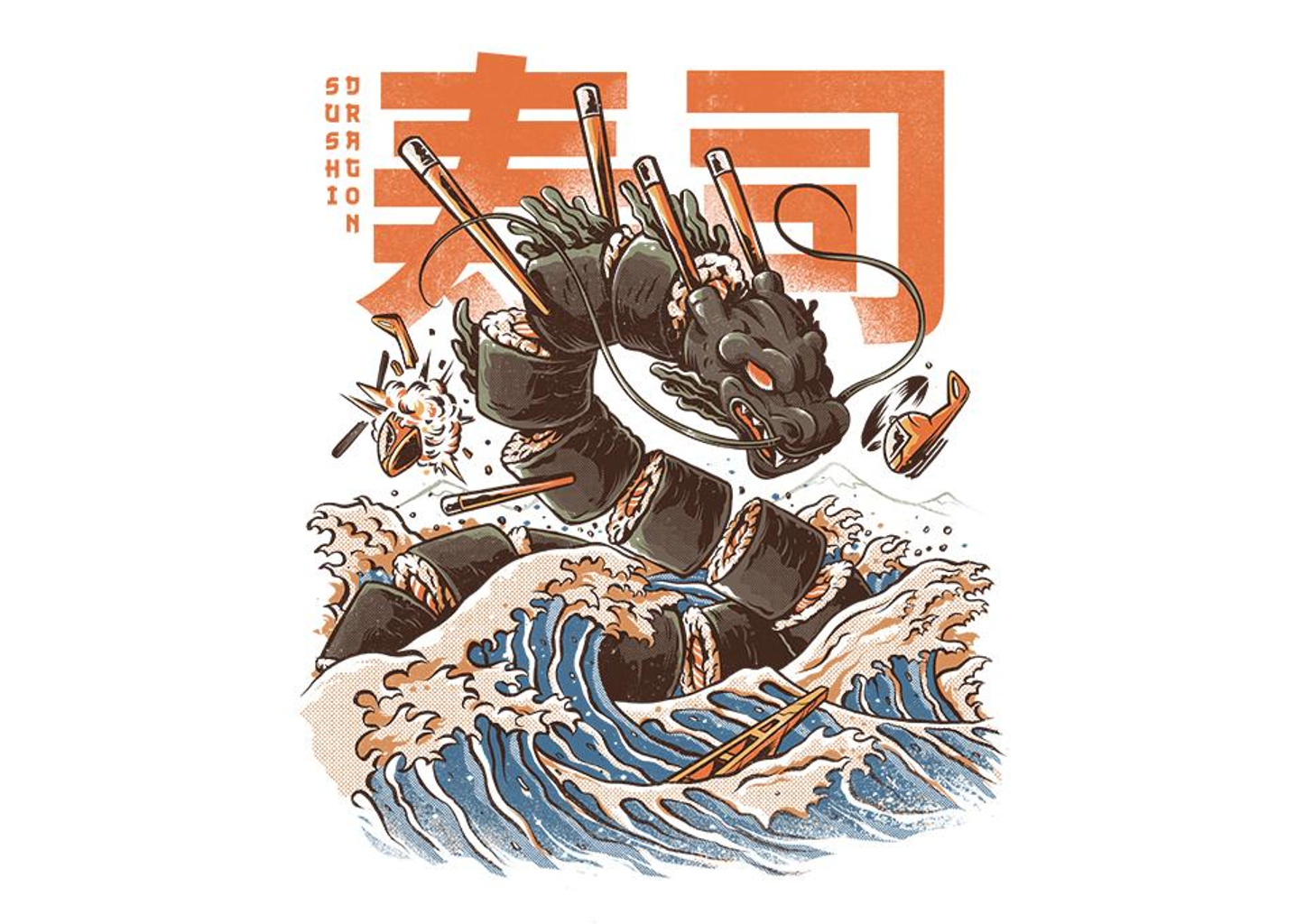 TeeFury: Great Sushi Dragon