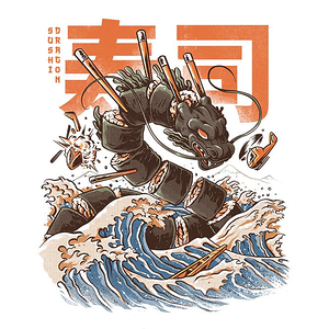 TeeFury: Great Sushi Dragon