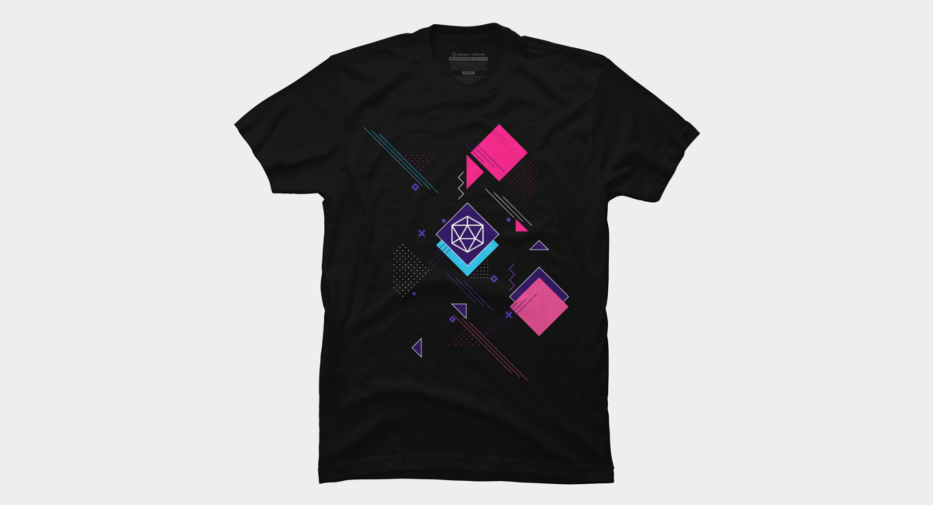 Design by Humans: Cyberpunk Neon Noir D20 Dice Geometric