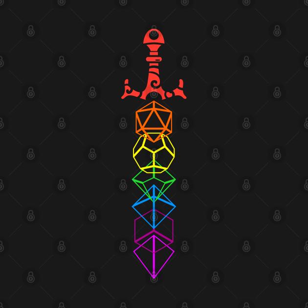 TeePublic: Rainbow Dice Sword RPG Gaming
