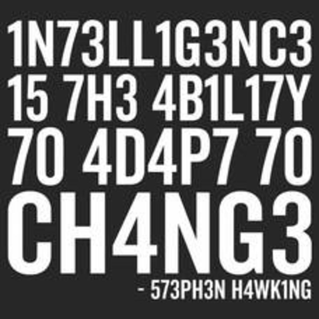 Textual Tees: Intelligence Stephen Hawking Mens T-Shirt