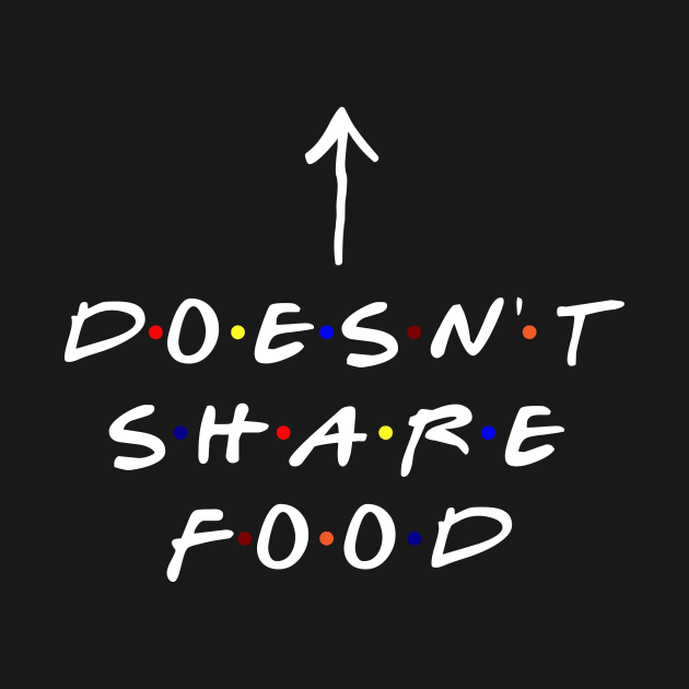 TeePublic: [Insert Name] doesn't share food! (White Text)
