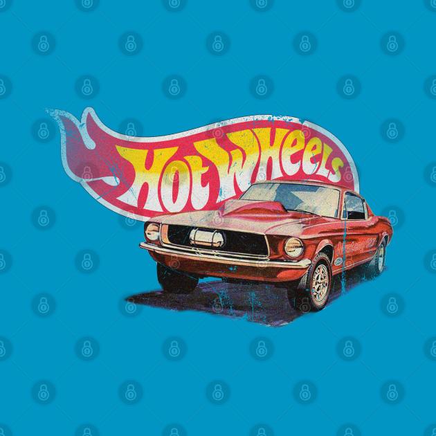 TeePublic: Authentic Vintage, Distressed Hot Wheels 1968 Custom Mustang