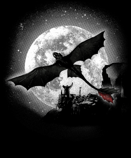Qwertee: Moonlight Dragon Rider