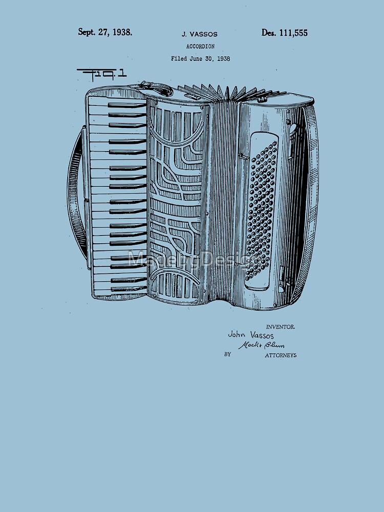 RedBubble: Patent Prints -  Accordion Blueprint 1938