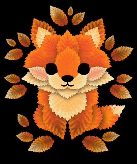 Qwertee: little fox of leaves