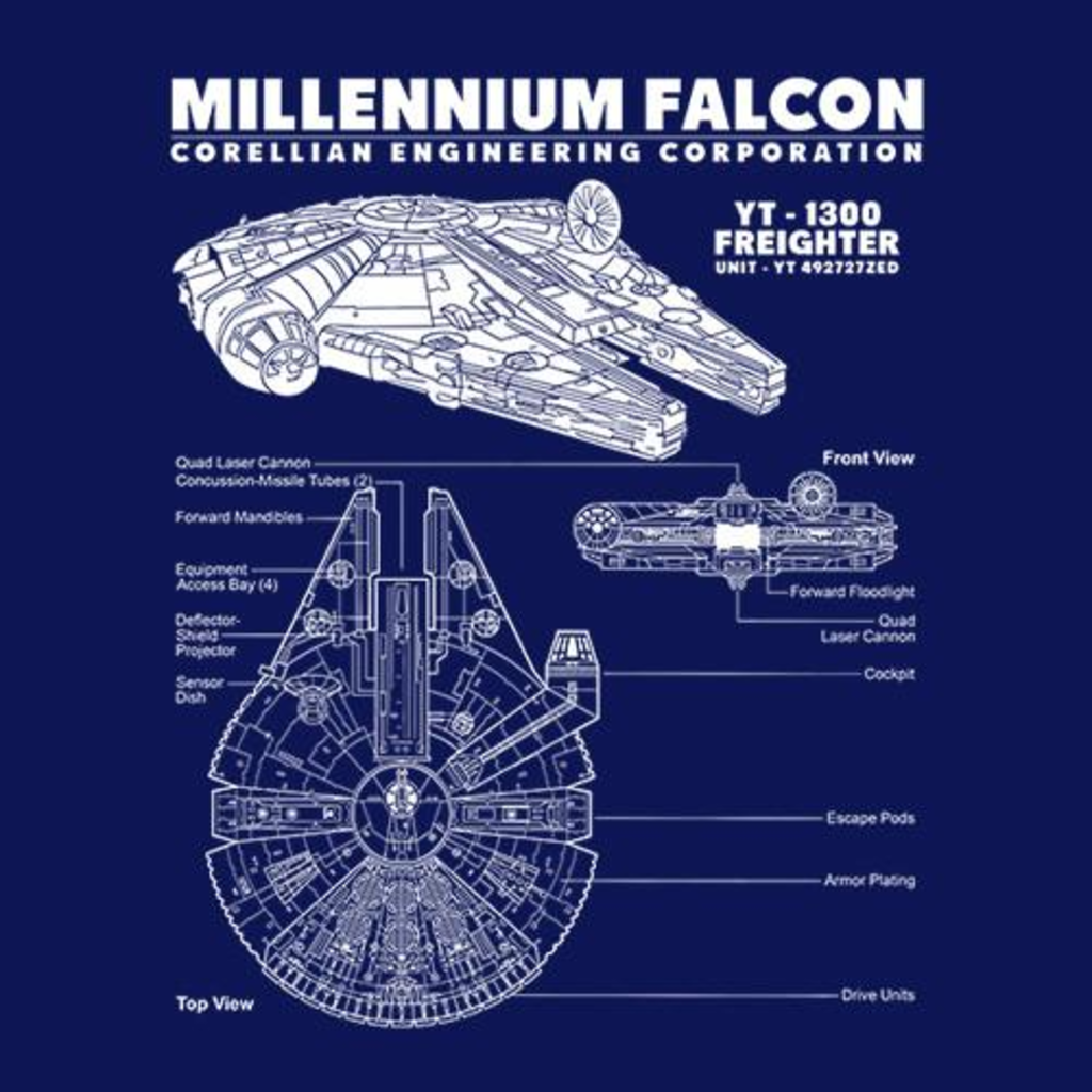 Five Finger Tees: Millennium Falcon Blueprint T-Shirt