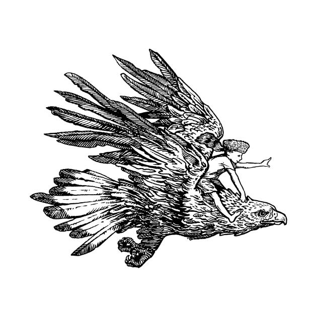 TeePublic: Golden Flight - Boy on Eagle