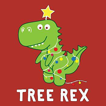 BustedTees: Funny Tree Rex Dinosaur Christmas Gift Xmas Party