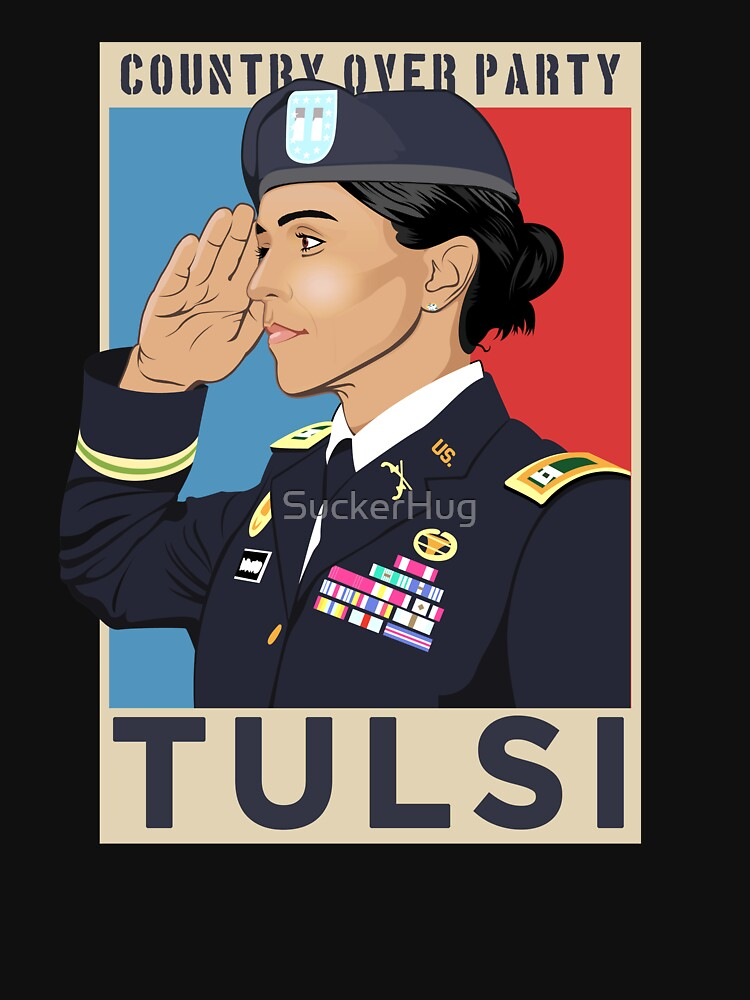 RedBubble: Tulsi Gabbard 2020 for President, Country Over Party, Military Veteran Salute