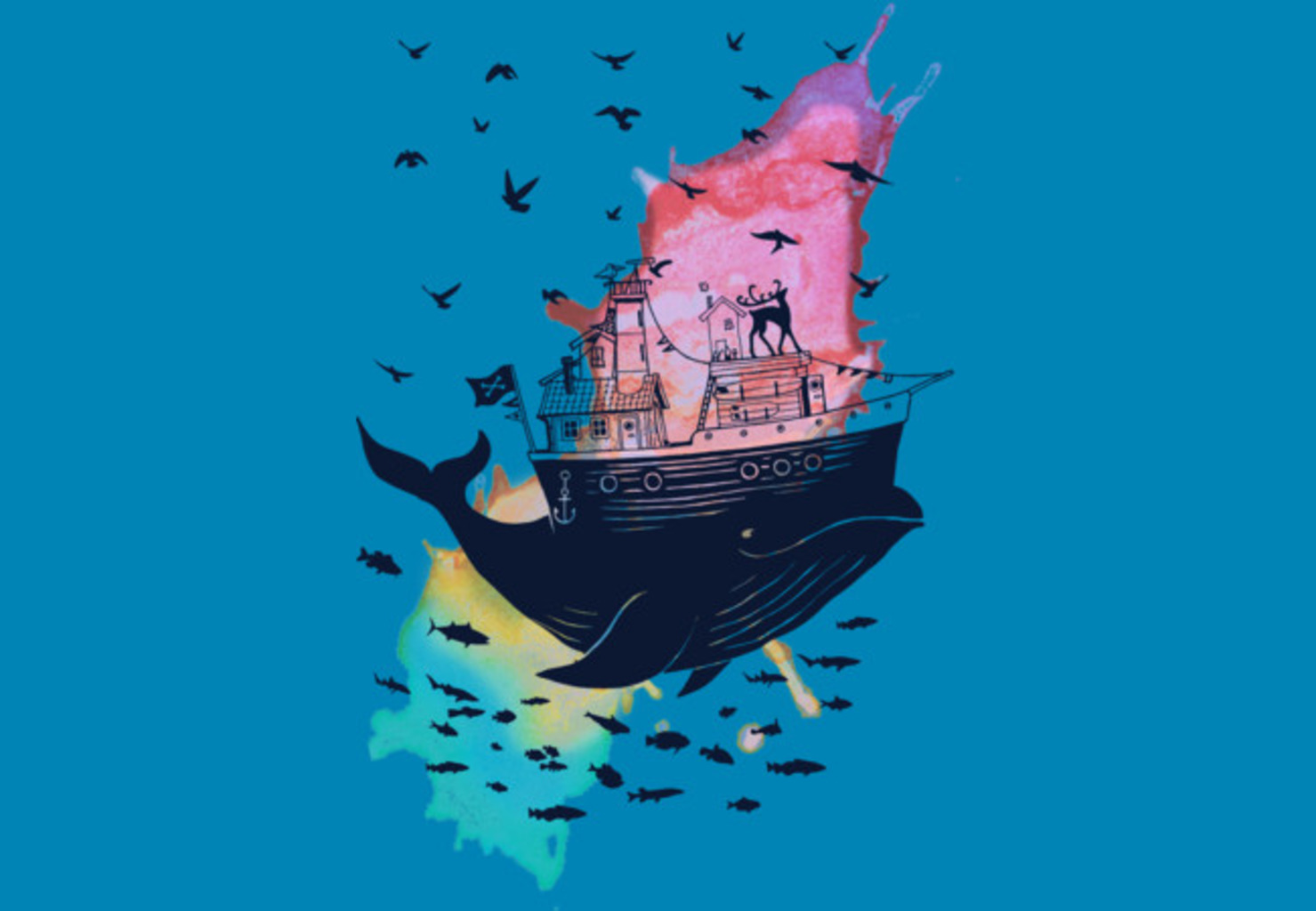 Design by Humans: Whale Boat House Watercolours