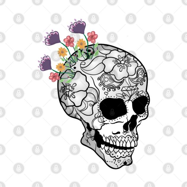 TeePublic: dia de los muertos flowers sugar day skull