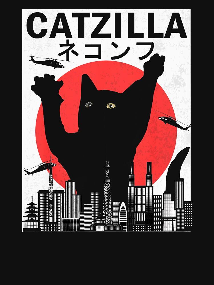 RedBubble: Vintage Sunset Catzilla in City Janpan Lover Cat and Kitten