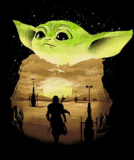 Qwertee: Baby Yoda Sunset