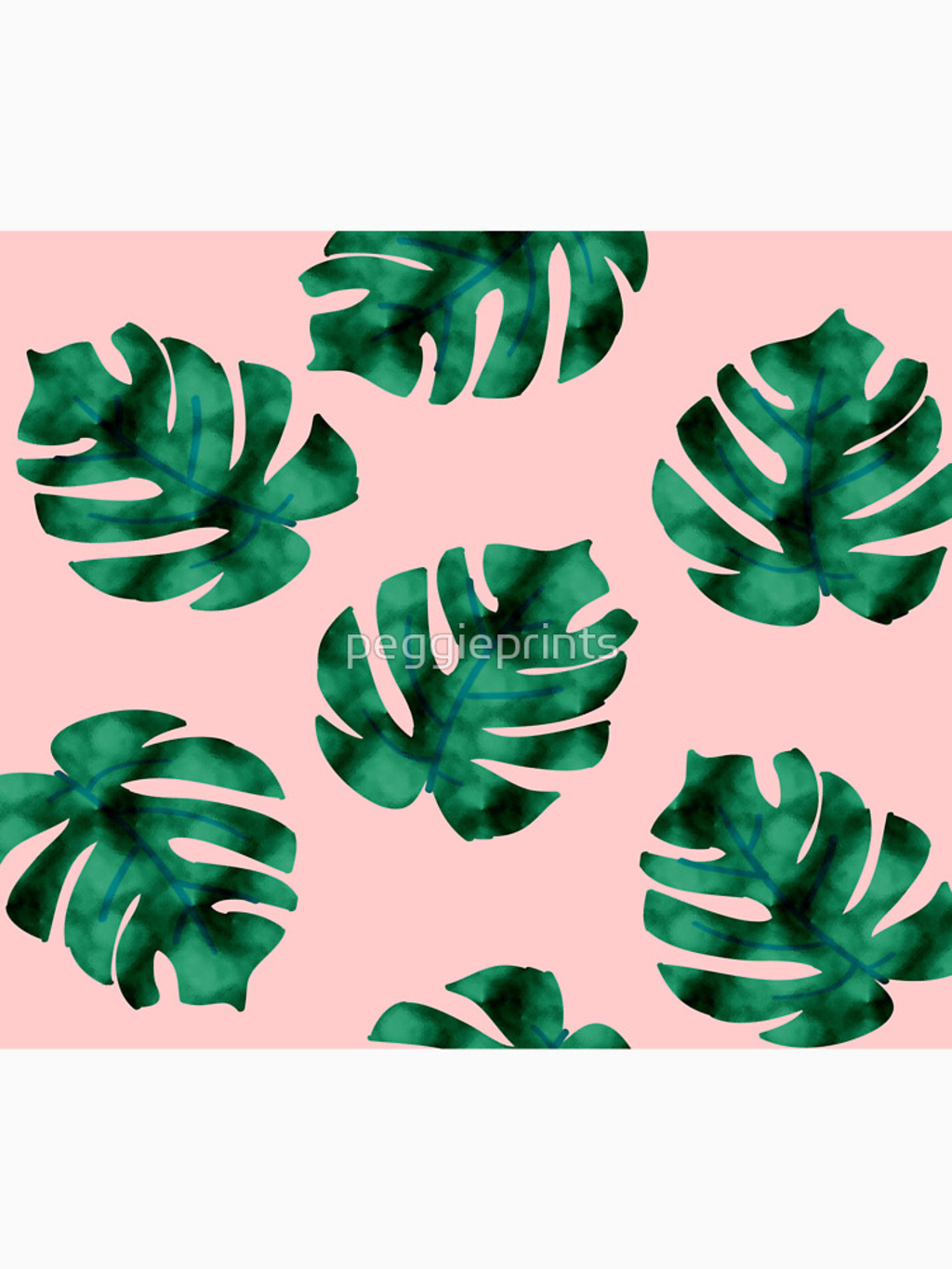 RedBubble: Tropical fern leaves on peach