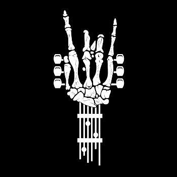 BustedTees: Rock & Roll Skeleton Guitar Music Lover Gift