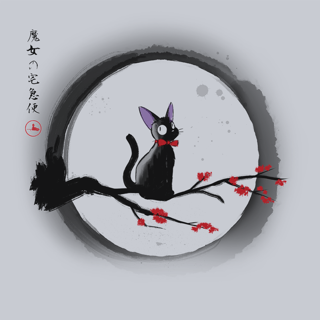Pop-Up Tee: Jiji under the Moon