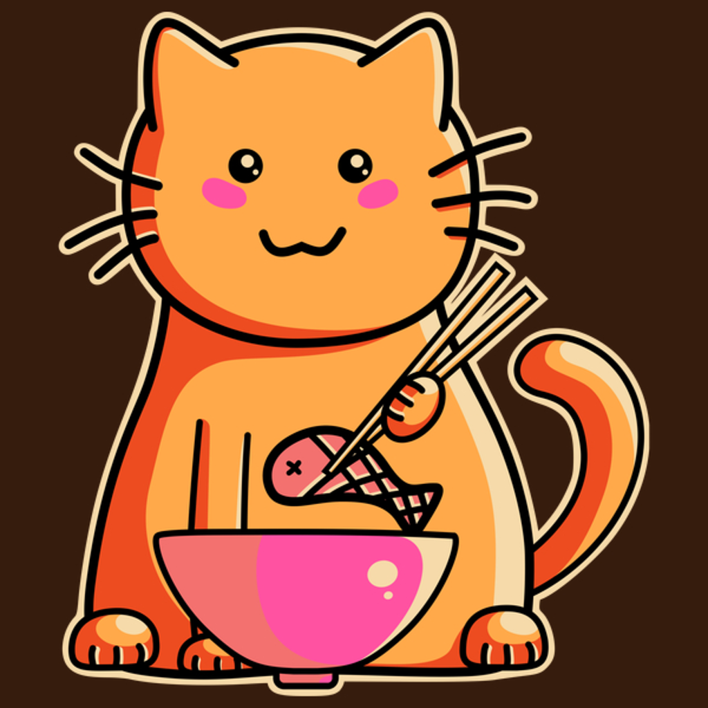 NeatoShop: Cute cat eating fish with chopsticks