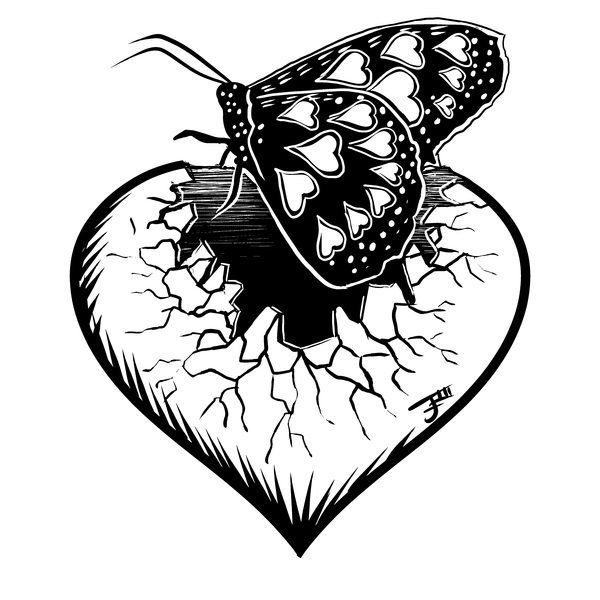 NeatoShop: Inktober Day 12: SHATTERED - Heartbreak Butterfly