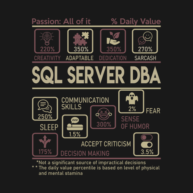TeePublic: Sql Server Dba T Shirt - Multitasking Daily Value Gift Item Tee