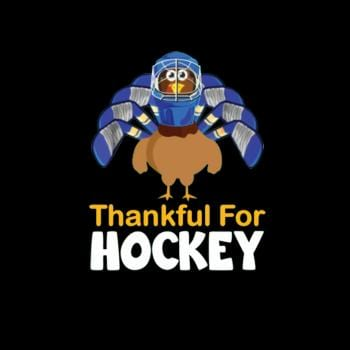 BustedTees: Funny Turkey Thankful For Hockey Gift For Thanksgi