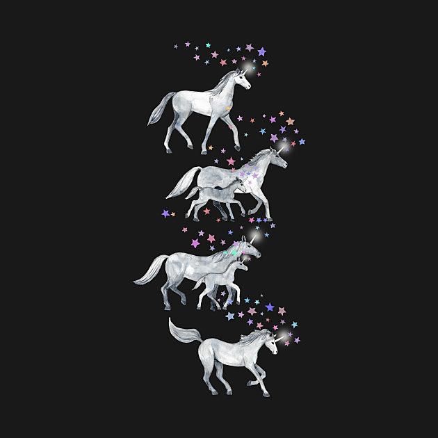TeePublic: Unicorns and Stars on Dark Teal