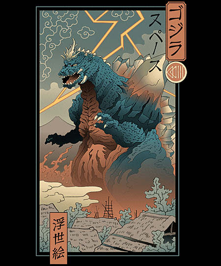 Qwertee: Space Kaiju Ukiyo-e