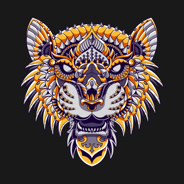 TeePublic: Tiger mandala zentangle scary face head illustration