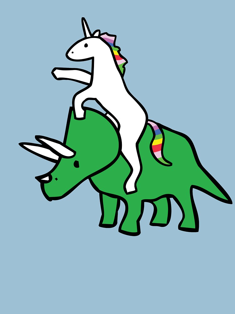 RedBubble: Unicorn Riding Triceratops