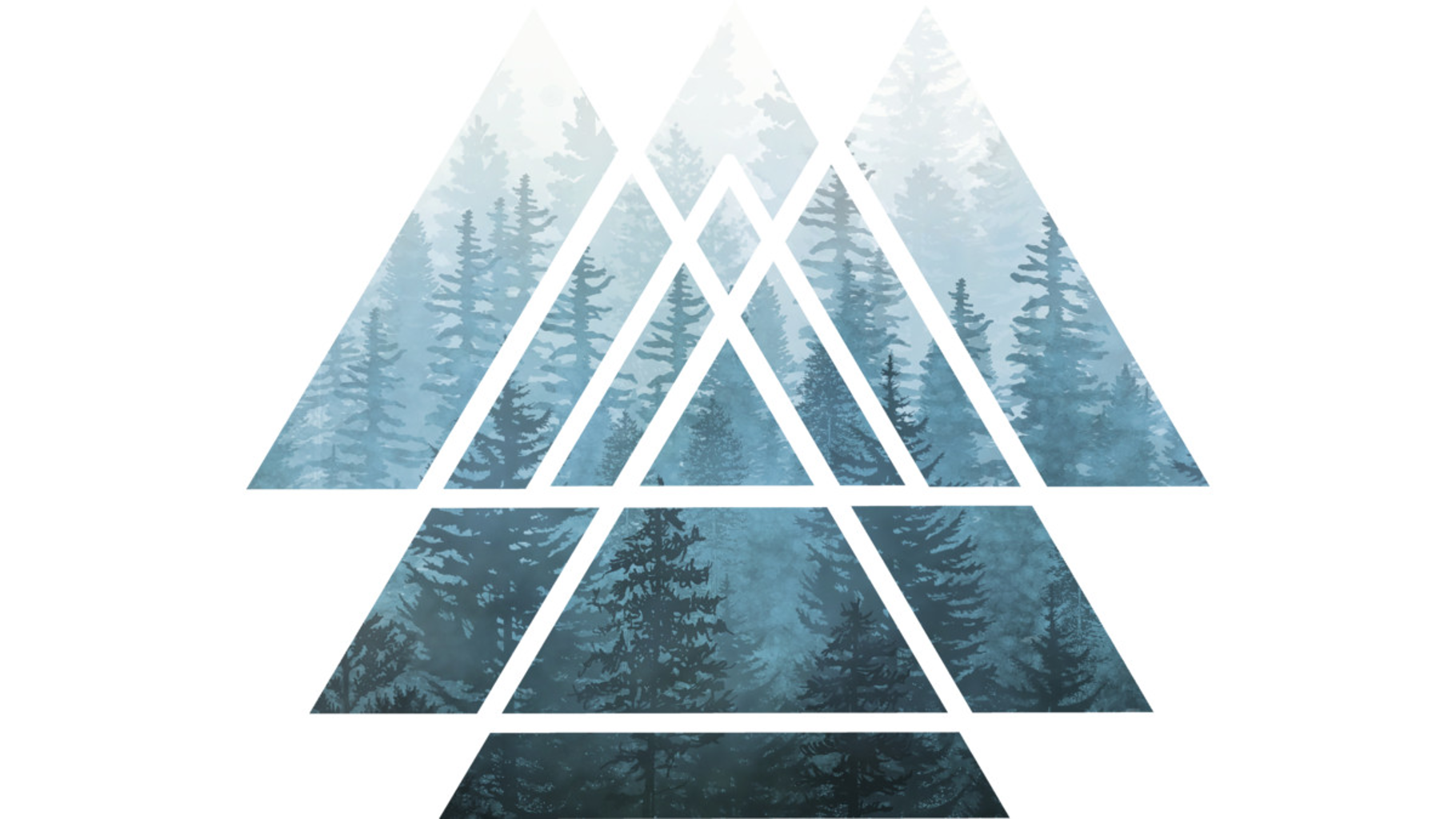 Design by Humans: Sacred Geometry Triangles - Misty Forest