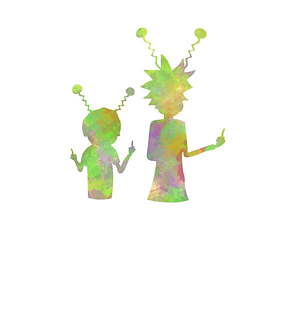 RedBubble: Rick and Morty silhouette - Peace among worlds