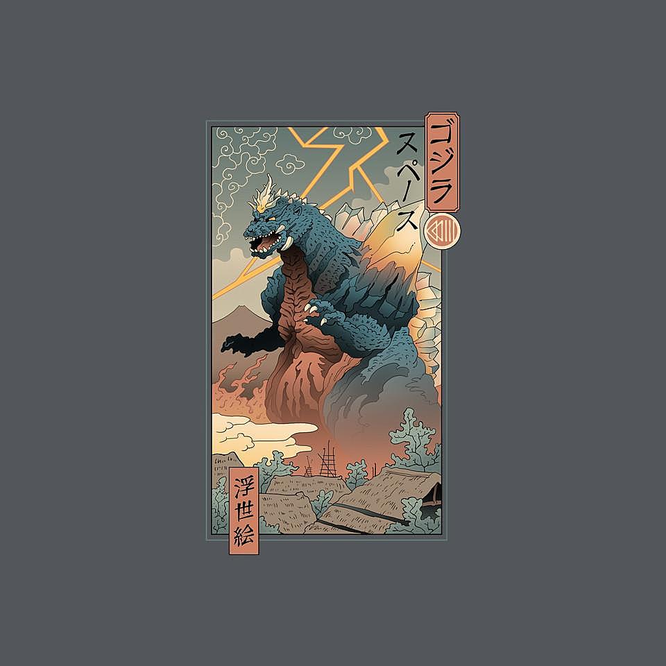 TeeFury: Space Kaiju Ukiyo-E