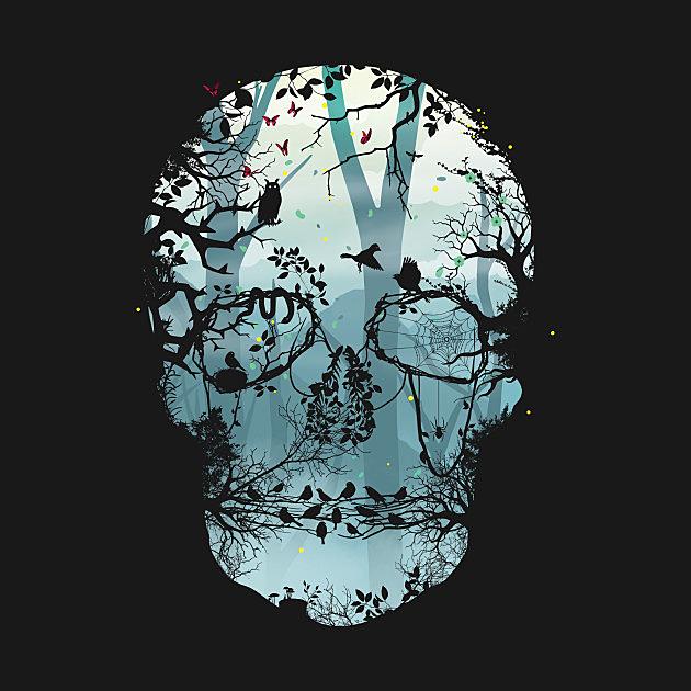TeePublic: Dark Forest Skull