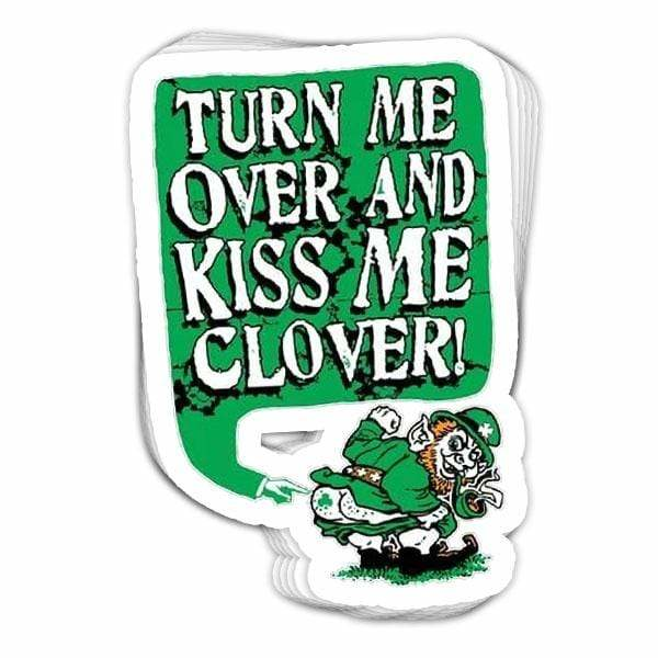 BustedTees: Kiss Me Clover Leprechaun Vinyl Sticker