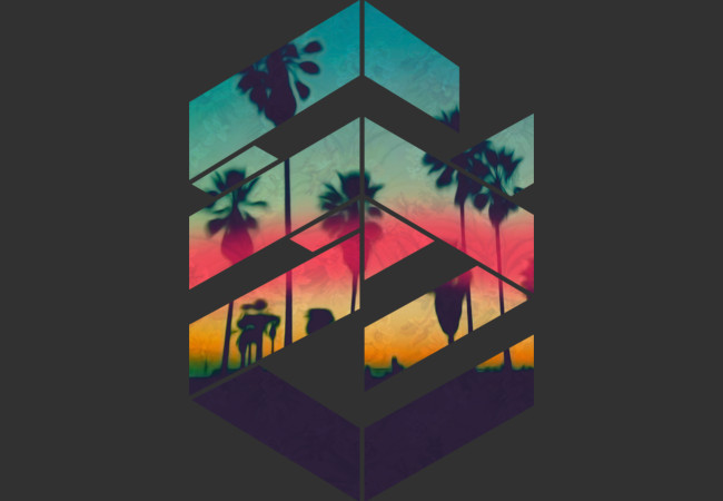 Design by Humans: Geometric Sunset beach