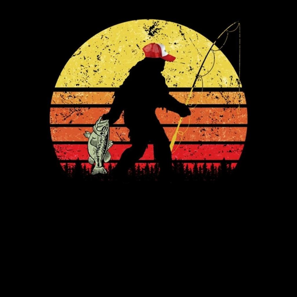 BustedTees: Bass Fishing Bigfoot In Trucker Hat Retro Funny Sh