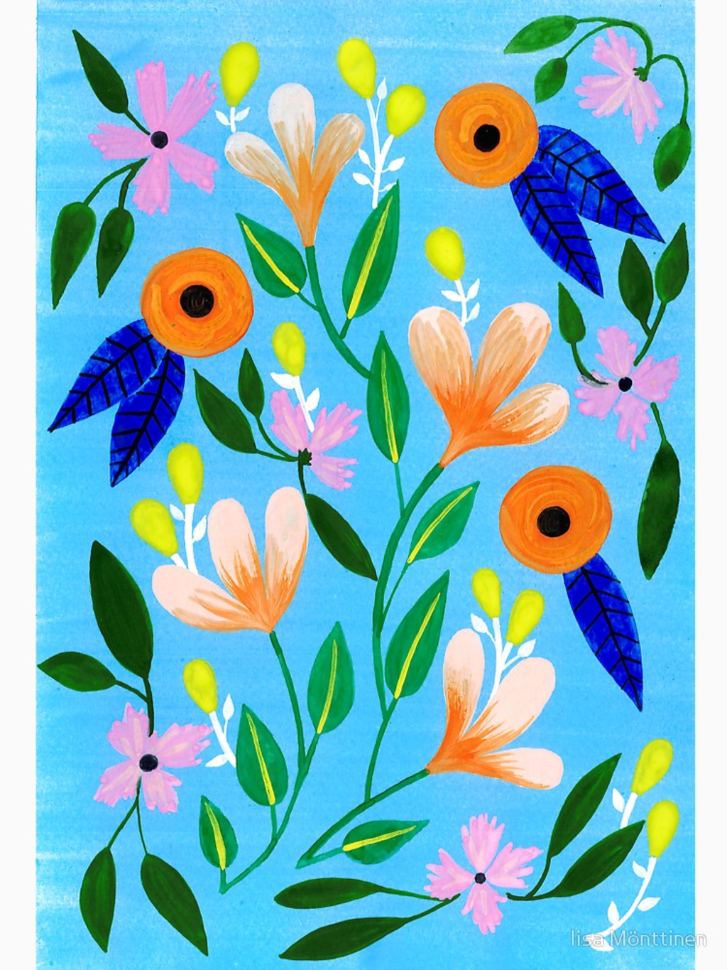 RedBubble: Flowers on blue