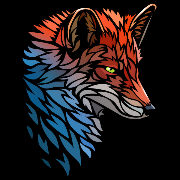 NeatoShop: Tribal Fox Red Blue