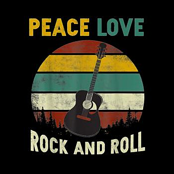 BustedTees: Peace Love Rock And Roll Guitar Retro Vintage