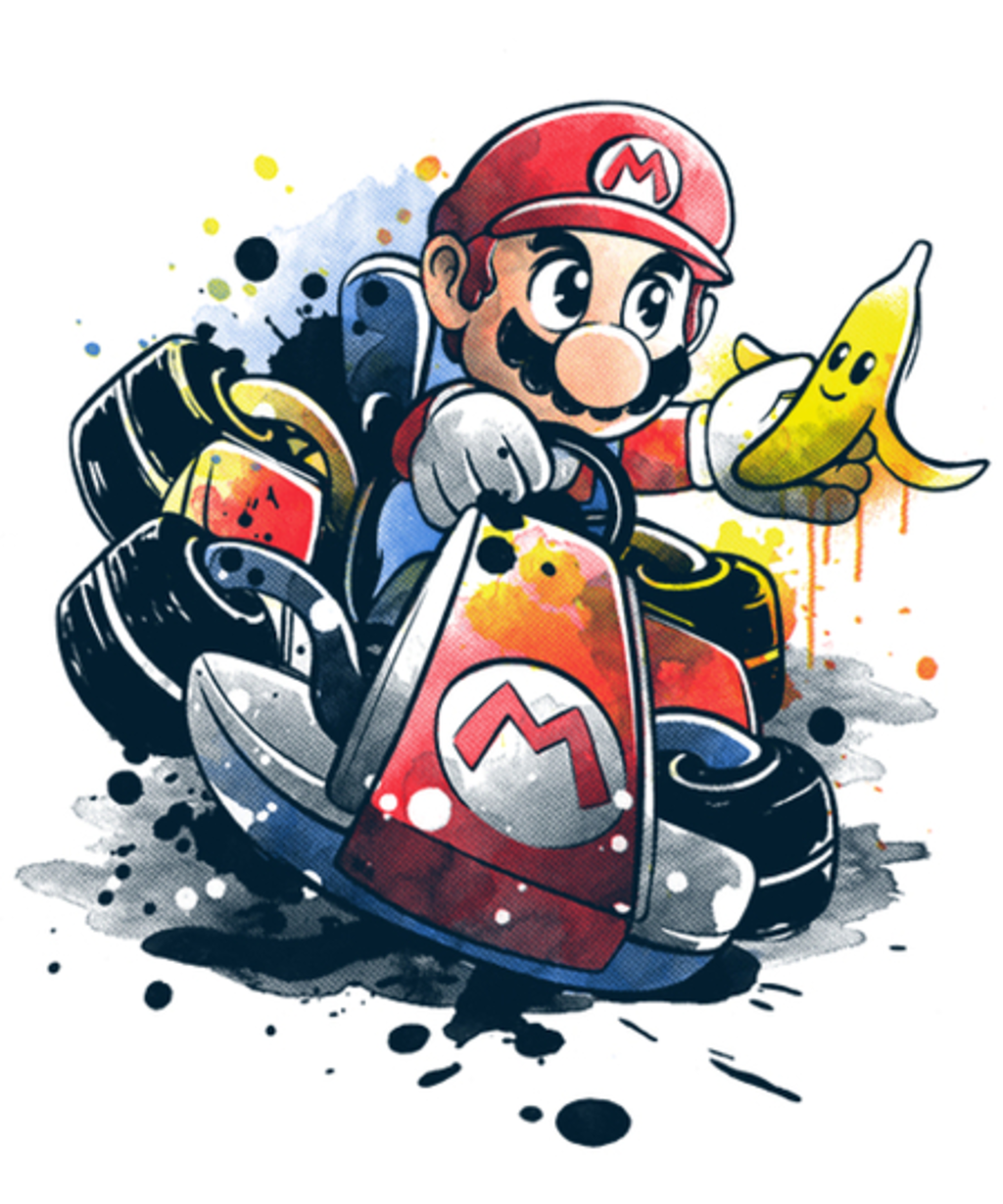 Qwertee: Go kart watercolor