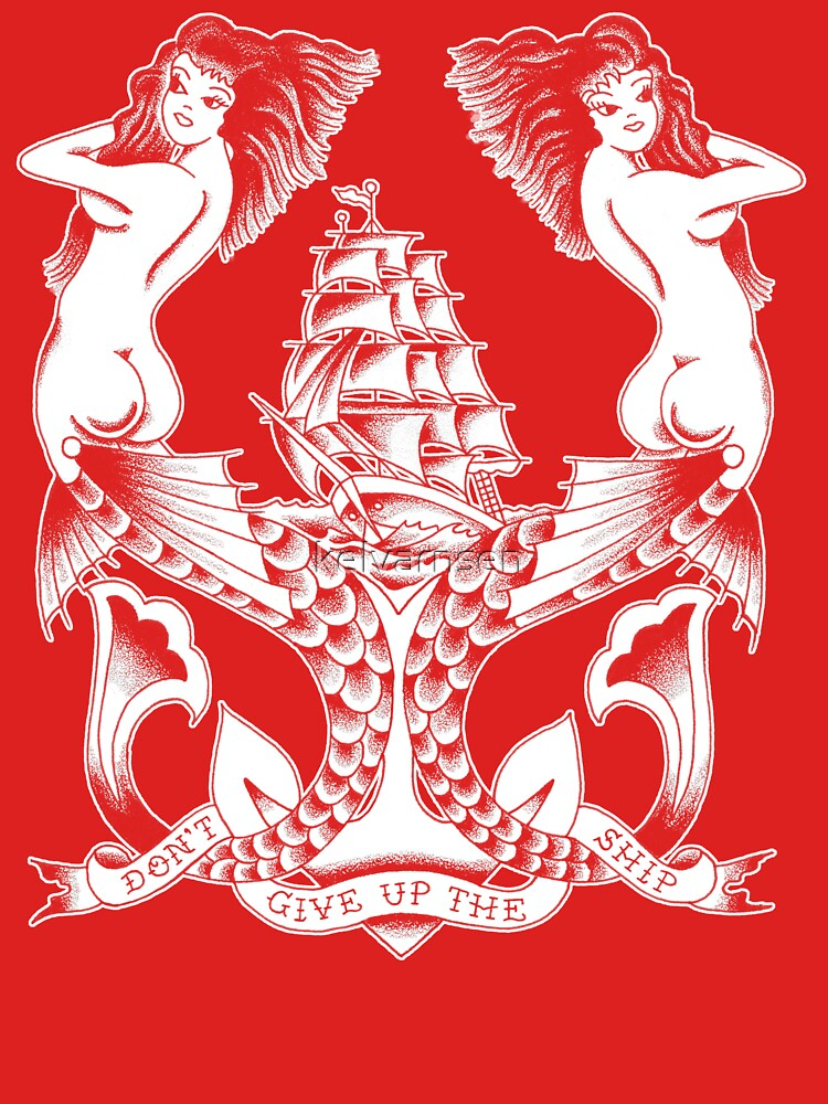 RedBubble: Don't Give Up the Ship mermaid tattoo design