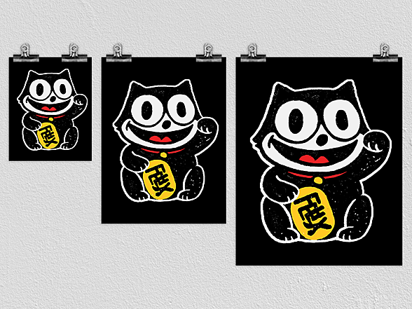 Woot!: Lucky Black Cat Poster