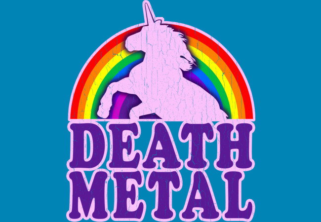 Design by Humans: Funny! Death Metal Unicorn (vintage distressed)