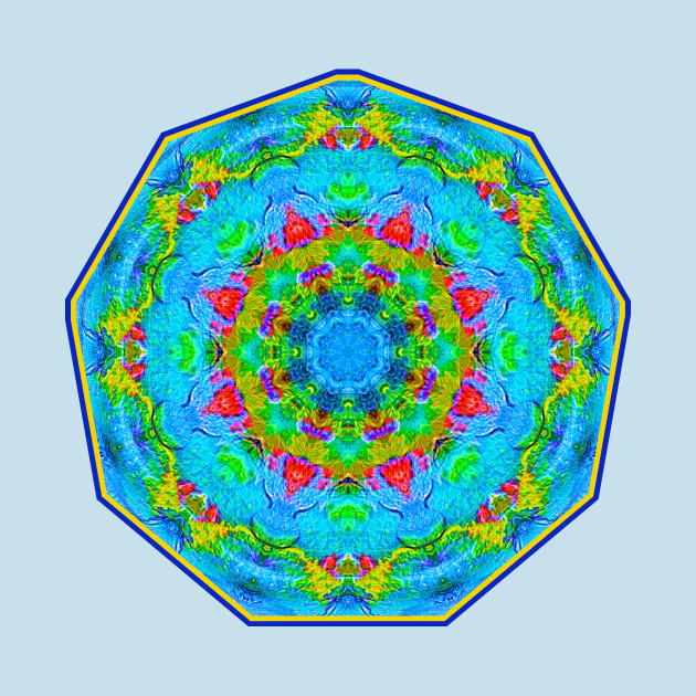TeePublic: Red Flower Blue Mandala