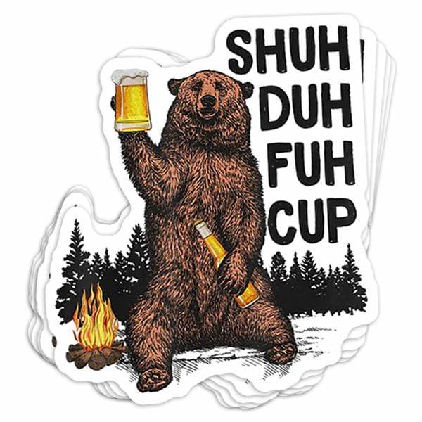 BustedTees: Shuh Duh Fuh Cup Vinyl Sticker