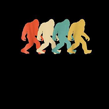 BustedTees: Bigfoot Silhouette Retro Pop Art Sasquatch Graphic